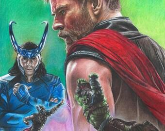 Drawing of Thor (Chris Hemsworth), Loki (Tom Hiddleston), Hulk (Mark Ruffalo) from Thor Ragnarok