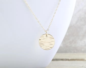 Gold Layering Necklace - Circle Necklace - Gold Disc Necklace - Ocean Pendant Necklace - Everyday Jewelry - Gift For Her - Christmas Gift