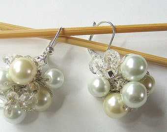 Ivory and White Pearl Cluster Bauble Earrings with Crystals, Bridal Wedding / Hand Knit Original Design