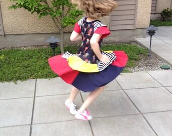 The Nancy Dress Pattern PDF 6mos-7/8 years Raglan Flutter Sleeve or long sleeve