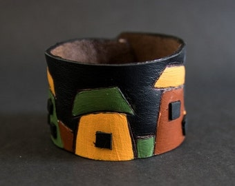 50% OFF SALE Colorful houses leather wide black cuff bracelet Jewelry Wristband Casual