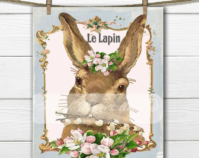 Shabby Chic Vintage Digital French Easter Bunny, French Pillow Bunny Transfer, Vintage Bunny Iron On Graphic, Digital Download