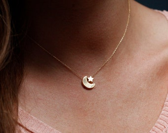Moon and Star Necklace, Gold Moon Star Necklace, Moon Necklace, Star Necklace, Simple Gold Moon Necklace, Gold Star Necklace, Gift for Her