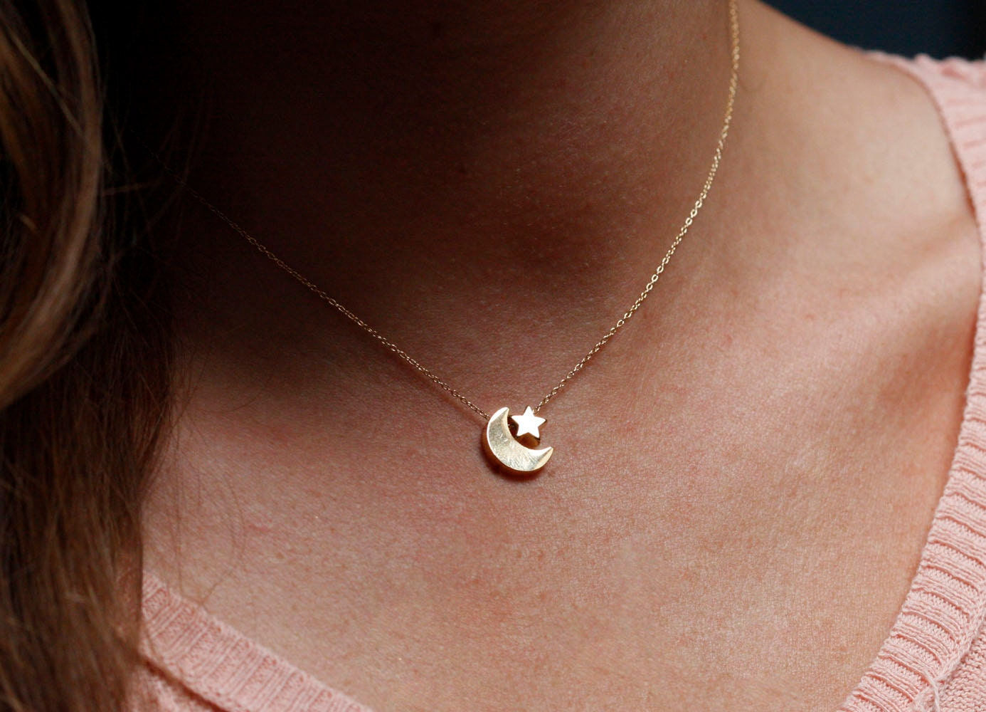 Moon and Star Necklace Gold Moon Star Necklace Moon