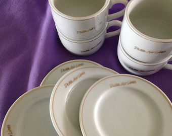 Vintage Delta Air Lines Set of Four First Class Cups and Saucers