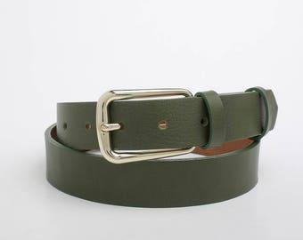 Leather Belt, Green Leather Belt, Womens Belt