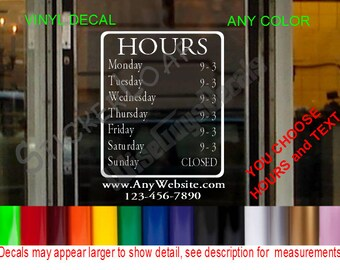 STORE HOURS CuStOm Window Decal Business Shop Storefront Door sign Bakery Gym Personalized Sticker Decals Stickers Barber Garage Grocery