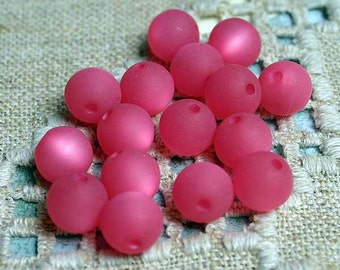 20pcs Cool Frost Resin Beads, Resin, Frosted Matte Pink 8mm Round