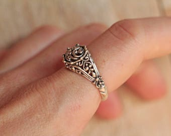 Filigree Ring, Mandala Ring, Vintage Style Ring, Silver Wedding Ring, Silver Wedding Band, Silver Engagement Ring, 925 Sterling Silver Ring