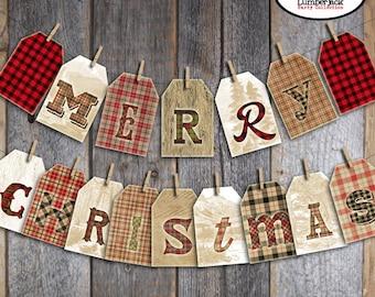 Christmas Banner | Christmas Bunting | Merry Christmas Banner | Buffalo Plaid Christmas | Plaid Christmas | Rustic Christmas | Printable