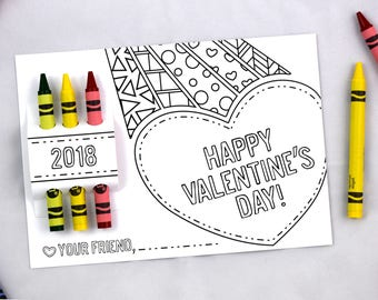 Crayon Valentine Cards - Preschool Valentines Cards - Valentines with Crayons - Crayon Valentine Card - Crayon Valentines Cards