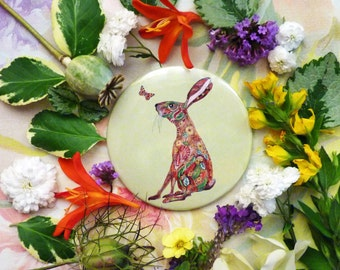 Hare Pocket Mirror 3 inch Girls Mirror Handbag Mirror Travel Mirror Green Artwork Mirror - lovely character mirror, hare doodle & butterfly