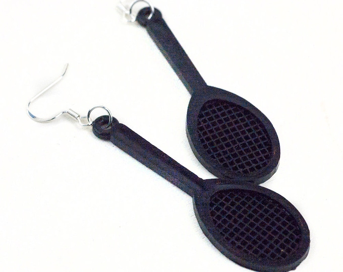 Black Tennis Racket  Earrings