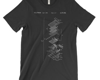 Calculator Patent T-Shirt Soft Cotton, Comfy. HP Patent Hewlett Packard Retro Shirt Clothing. Blueprint Gift. In Black White Red or Gray