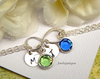Personalized Silver  Infinity Birthstone  Bracelet. Hand Stamped Initial Disc And Birthstones Of Your Choice