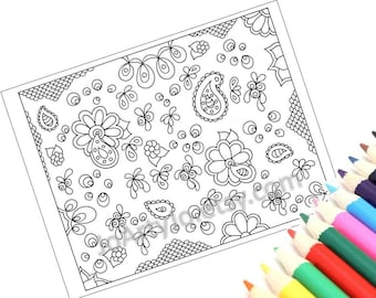 Coloring Page Zentangle Inspired, Zendoodle Paisley Pattern, Page 50 Instant Download