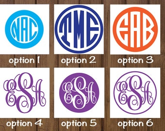 Monogram Decal - Circle Monogram // Vine Monogram