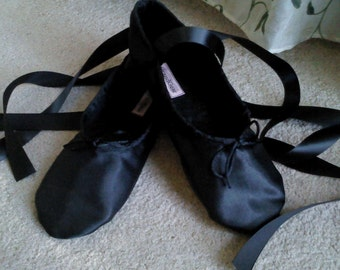 Black Satin Ballet Slippers - Full Sole or Split Sole