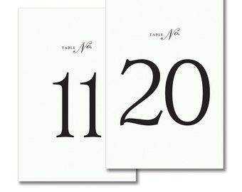 Tented White with Black Numbers and Border Table Numbers • 1-10, 11-20 OR 1-20