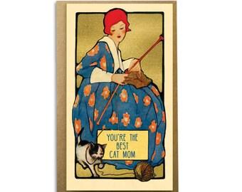 You're The Best Cat Mom; Cute Card for Cat Lovers; Vintage Cats; Victorian Image; Art Nouveau; Art Nouveau Lover; Elegant Design