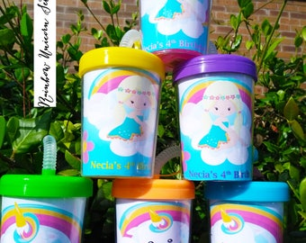 Rainbow Unicorn Personalized Party Favor Cups Set of 6, Classroom Kids, Unicorn for kids