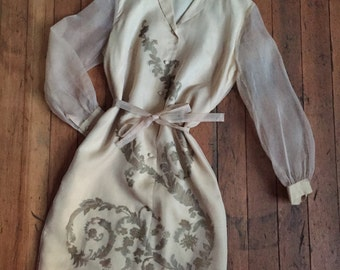 vintage 1960s Alfred Shaheen dress // 60s silk printed shift dress with belt