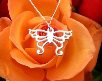 Fancy Sterling Silver Butterfly Necklace