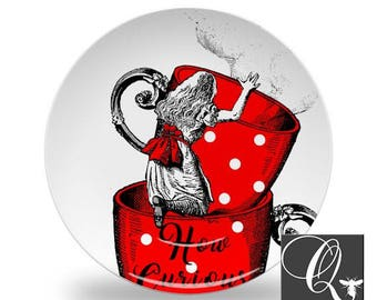 Alice in Wonderland Plate,tea party plate,red party dishes,melamine plates,how curious plate,kids birthday decor,dinnerware sets #32