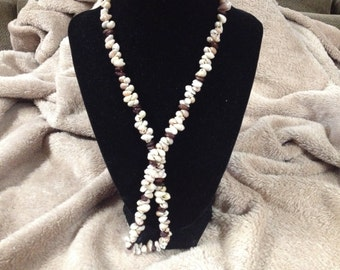 Vintage Seashell Design Beaded Necklace, 24'' Long
