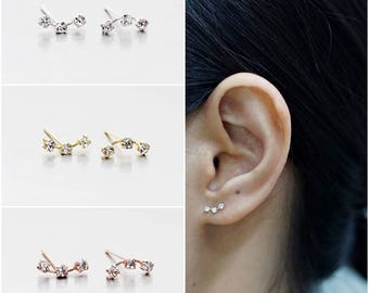 925 Sterling Silver Earrings,  Triple Crystal Earrings, Gold Plated Earrings, Rose Gold Plated Earrings, Stud Earrings (Code : ED68)