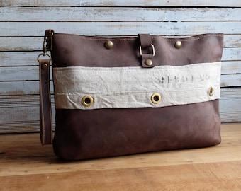 Leather handbag, oiled cowhide leather & grain Sack
