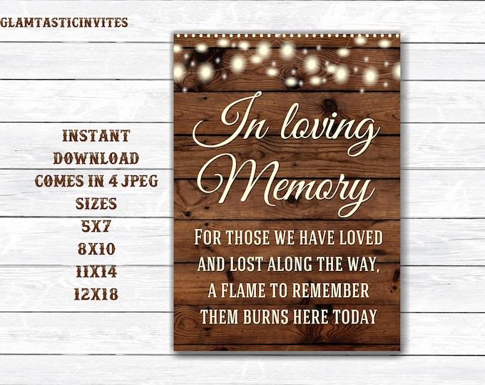 Wedding Sign, In loving Memory Sign, Rustic Wedding Sign, Printable Sign, Wedding Sign, Rustic Wedding, Wood Sign, Digital Sign, Printable