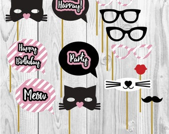 Cat happy birthday party props, kitty party, party paper decoration, Birthday Party Package, printables, printing party decor, cats