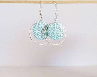 Earrings double circles enamel light turquoise and white pattern