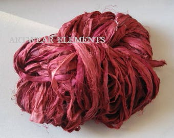 Pure Sari Silk, Lipstick Mix, 6 Yards, New Recycled Sari Silk, Fair Trade, Textile, Ribbon, Yarn, Silk, Sari silk, ArtWear Elements, 222