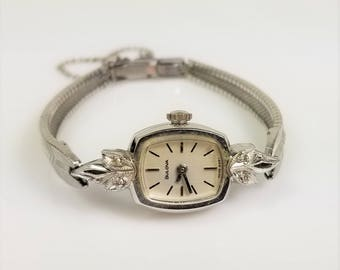 Vintage Bulova 1/40 10K Rolled Gold Plated RGP 4 Diamonds Ladies Watch 17 Jewels 1000 11 Swiss 1977, Diamond Watch