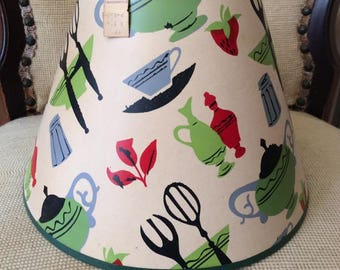 Vintage 1940s Lamp Shade Deadstock Retains Original Price Tag From F.W.Woolworth Co. Kitchen Items Theme