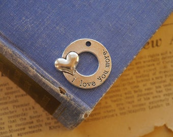 """2 pcs Large Antique Silver Round """"I Love You More"""" Heart Charms Pendants 34mm (SC3145)"""