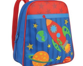 Rocket Ship Preschool Backpack - embroidered free.