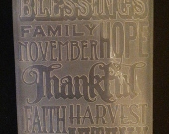 """Sizzix Thankful Print Embossing Folder 4.5""""x5.75"""" works in most machines"""