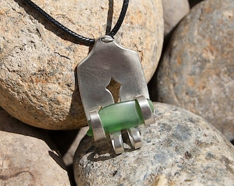 Silver Plated Fork & Tumbled Glass Necklace NL041
