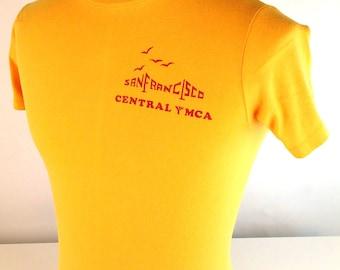 "Vintage 80s Yellow YMCA T Shirt, Golden Gate Bridge, San Francisco, Mens Cotton TShirt, Vintage San Francisco T Shirt, C 33"""