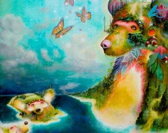 Sleeping Bear Dunes - Art Print - Popsurrealism - Artwork - Prints - Bears - Nature - Michigan Art