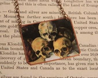 Skull necklace Paul Cezzane Skull jewelry mixed media jewelry