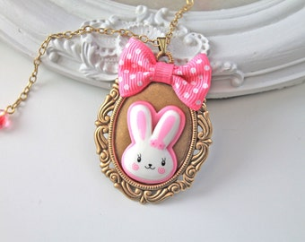 SALE 40% off  The White and Pink Rabbit Necklace  kawaii cute