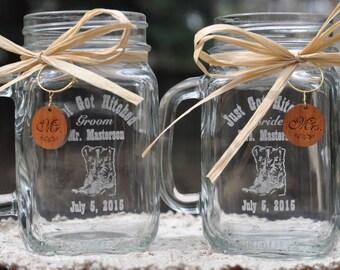 Cowboy Boot Mason Jars,  Personalized Mason Jar Mugs, Bride and Groom Toasting Glasses