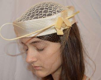 VTG White Satin Wedding hat