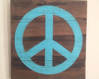 Rustic Wood Wall Decor - Painted Peace Sign