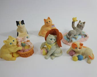 90s Vintage Collectible Cats Mini Resin Figurines, Decor Kitsch Chotchki Collection Stocking Stuffer, Cute Gifts for Pet Lovers Variety Set