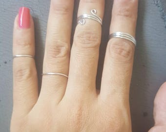 Silver Rings Set for Women, Silver Set for Women, Ring Set, 4 Rings Set, 4 Items, Dainty Rings, Best Friend Rings, Silver Ring for Women